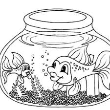 Fish With Long Tail In Bowl Coloring Page