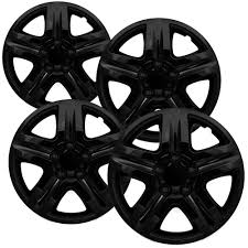 4 PC Set Chevy Impala Ice Black Hub Caps 5 Spoke Lug Skin 16