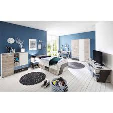 lomadox jugendzimmer set leeds 10 sparset 6 tlg mit schreibtisch 6 teilig in sandeiche nb mit weiß lava und denim blau