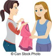 Teen Girls Friends Borrow Dress