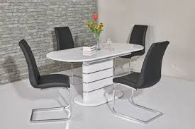 100 White Gloss Extending Dining Table And Chairs Lia WHITE High Oval 120160CM Chair Set