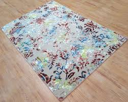 7x9 Ft Beige Viscose Area Rug Hand Tufted Multi Color Floral Carpet Living Room Bedroom Dining