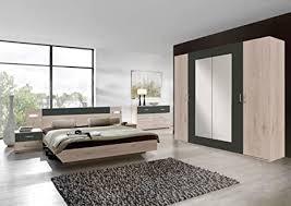 lifestyle4living schlafzimmer komplett set in eiche dekor und grau 4 teilig modernes komplettset mit drehtürenschrank bett und nachtschränken