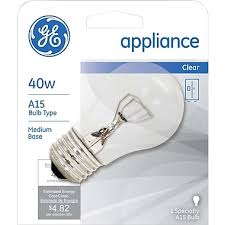 40 watt ge incandescent a 15 appliance bulb clear staples