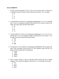 100 Rectangular Parallelepiped 233976534SolidGeometryQuestionspdf