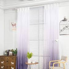 nibesser transparent farbverlauf gardine vorhang schlaufenschal deko für wohnzimmer schlafzimmer 245cmx140cm weiß und lila