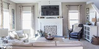 Living Room With Fireplace Design by Remodelaholic How To Build A Faux Fireplace And Mantel