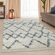 teppich wohnzimmer shaggy rauten creme blau teppich