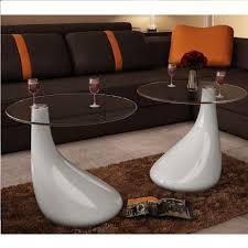 haoshengli 2 stk beistelltisch tisch glastisch wohnzimmer mit runder glasplatte hochglanz weiß