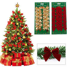 12 Pcs Set Creative Christmas Tree Decoration Butterfly Knot Hot Red Bow Flocking Small Festive Supplies