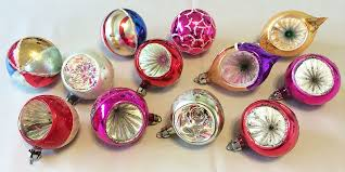 Vintage Poland Dozen Blown Glass Indent Christmas Ornaments In Original Box 1930s 1940s X SOLD GALLERY