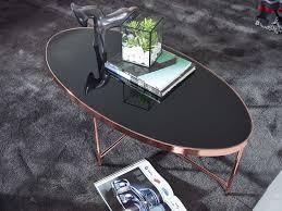 design couchtisch oval 110 x 56 cm spiegel glas wohnzimmertisch mit metallgestell in kupfer glastisch wohnzimmer