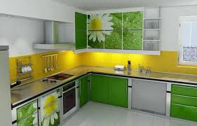 Green And Yellow Kitchen Ideas With Flower Pattern Wall