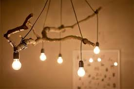 d i y tree branch and string light chandelier
