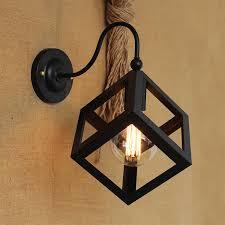 vintage black metal small iron box wall l edison light bulb