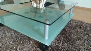 details zu glastisch couchtisch quadratisch 2 ebenen mit ausschnitt gebraucht