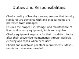 Laundry Aide Linen And Supervisor 6 Duties Responsibilities Description
