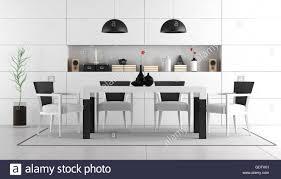 schwarz weiß esszimmer mit tisch stühlen und nische mit