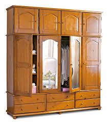 armoire 4 portes marsac 6 tiroirs miroirs surmeuble miel