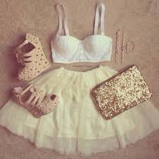 Skirt Tumblr Clothes Girly Gold Studs Heels White Bra Cute Summer Perfect Party Girl