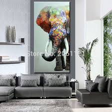 Large Vertical Wall Art Hand Painted Big Elephant Abstract Textured Animal Oil