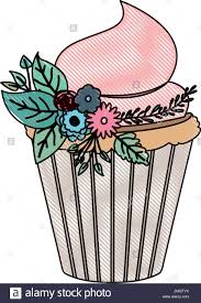 crayon silhouette of hand drawing color cupcake with pink buttercream and ornament plants decorative