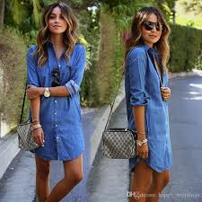 Vintage Fashion Womens Long Sleeve Jeans T Shirt Casual Denim Mini Dress