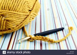 Crocheting With Brown Wool Retro Paper Background