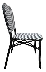 Austin Aluminium Rattan Outdoor Wicker Parisian Bistro Cafe Chair - Black  White 3pc Black Rocker Wicker Chair Set With Steel Blue Cushion Buy Stackable 2 Seater Rattan Outdoor Patio Blackgrey Bargainpluscomau Best Choice Products 4pc Garden Fniture Sofa 4piece Chairs Table Garden Fniture Set Lissabon 61 With Protective Cover Blackbrown Temani Amazonia Atlantic 2piece Bradley Synthetic Armchair Light Grey Cushions Msoon In Trendy For Ding Fabric Tasures Folding Chairrattan Chairhigh Back Product Intertional Caravan Barcelona Square Of Six