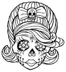 Sugar Skull Girl Coloring Sheet For Dia De Los Muertos