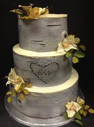 Rustic Wedding Cake With Carved Initials