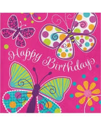 Party Creations Butterfly Sparkle Happy Birthday Lunch Napkins 16 Ct