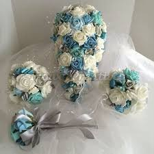 Wedding Flower Package Aqua Turquoise Tiffany Blue Silver And Ivory Roses