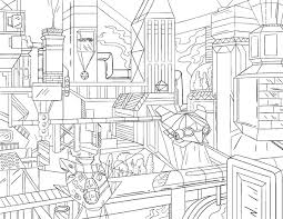 Free Printable Futuristic Cityscape Adult Coloring Page Download It In PDF Format At