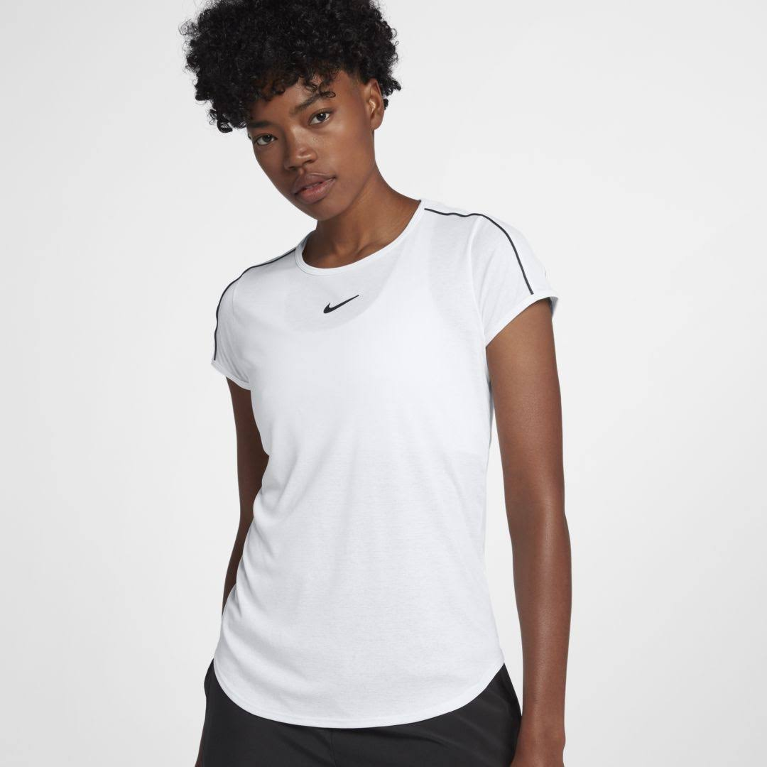 Nike Womens Court Dry Top - White and Black, X-Small