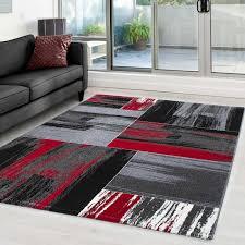 teppich modern designer abstract karo muster meliert schwarz grau rot weiß größe 80x150 cm