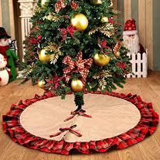 Christmas Tree Amazon Prime by Amazon Com Ourwarm Linen Burlap Christmas Tree Skirt Red Black