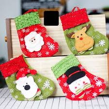 Christmas Stockings Hand Made Crafts Children Candy Gift Santa Bag Claus Snowman Deer Stocking Socks Tree Decoration Items For