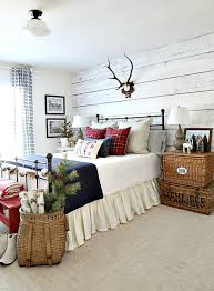 Christmas And Winter Decorating Ideas In This Beautiful Cabin Style Guest Bedroom