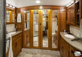The Bathroom In An Awesome From Camper Show His And Hers Sonks A Walk Closet Off MasterKeystone RV Image Of Master