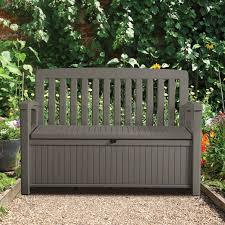 Keter Woodland Storage Box by Plastic Garden Storage Bench Box Departments Diy At B U0026q