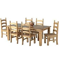 Mexican Corona 6ft Pine 70 Dining Table Set 6 Chairs Antique Waxed By