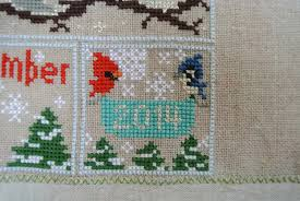 Frosted Pumpkin Stitchery Woodland Sampler by Sew Sweet Violet Woodland Sampler Cross Stitch Ta Dah