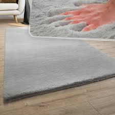 teppich wohnzimmer kunstfell plüsch hochflor shaggy soft waschbar in grau