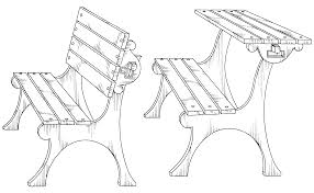 Cool Park Bench Drawing In Patent Usd Convertible Park Bench