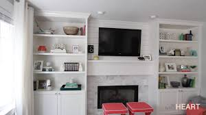 Living Room With Fireplace And Bookshelves by Diy Built Ins Part 2 Withheart Youtube