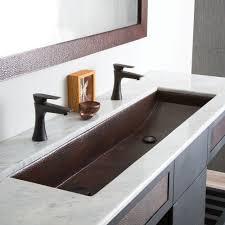 36 Double Faucet Trough Sink by Trough 48 Double Basin Rectangular Bathroom Sink Native Trails