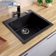 lindbergh granitspüle schwarz col11 inkl siphon küchenspüle einbauspüle küche spülen
