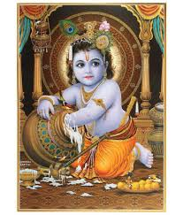 100 Krisana BM Traders Bal Krishna Paper Wall Poster Without Frame Single Piece