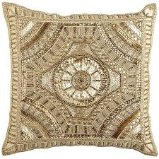 Pier 1 Calico Gold Beaded Medallion Pillow D I Y